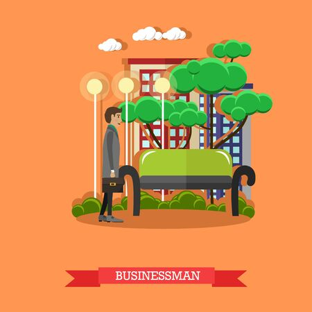 businessman walking: Vector illustration of businessman walking in the street, flat design Illustration