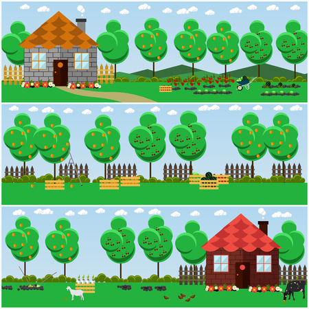 Vector set of countryside concept backgrounds with fruit, vegetable garden