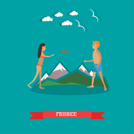 Vector illustration of young couple playing fying disc on the beach. Illustration