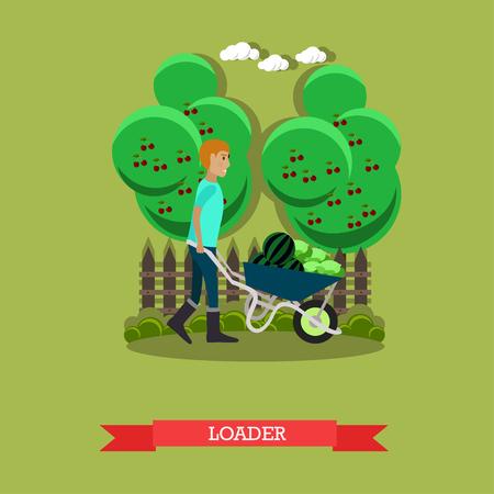 Vector illustration of loader in flat style. Illustration
