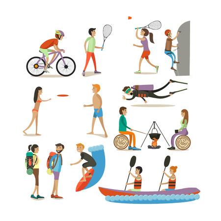 Jeu de caractères, éléments de conception de concept d'activités de plein air de l'été