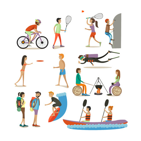 Vector set of characters, summer outdoor activities concept design elements Çizim