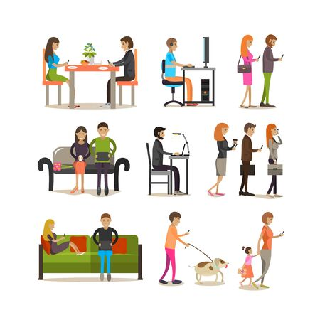 people: Vector set of people with modern gadgets, flat style design.