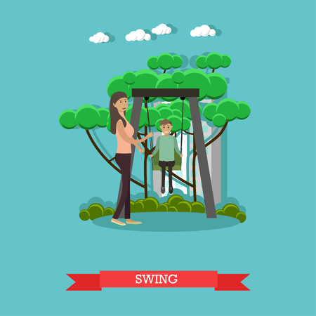 swinging: Vector illustration of mother swinging her son in the playground.