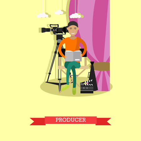 screenplay: Vector illustration of producer reading screenplay in flat style