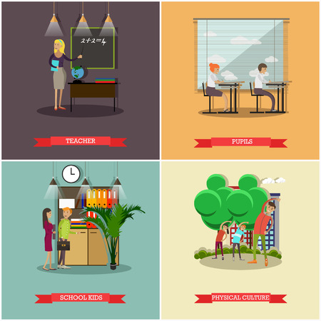 school: Vector set of school concept design elements in flat style