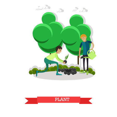 Planting, gardening concept vector illustration in flat style.