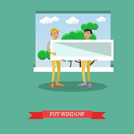 renovate: Vector illustration of workers installing plastic window, flat style Illustration