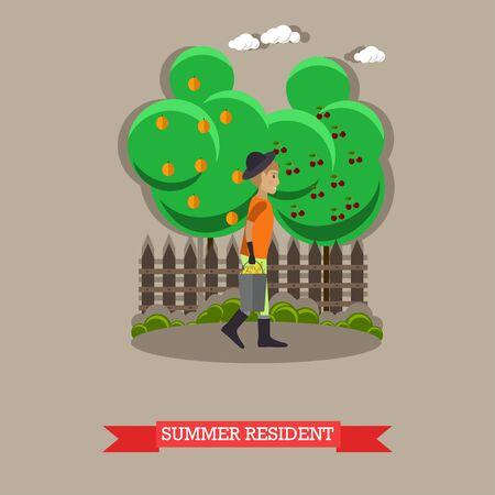Summer resident, vector illustration in flat style. Vector Illustration