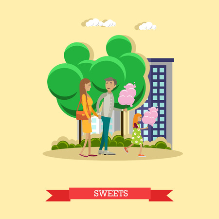 salesgirl: Vector illustration of happy family with cotton candy, flat style