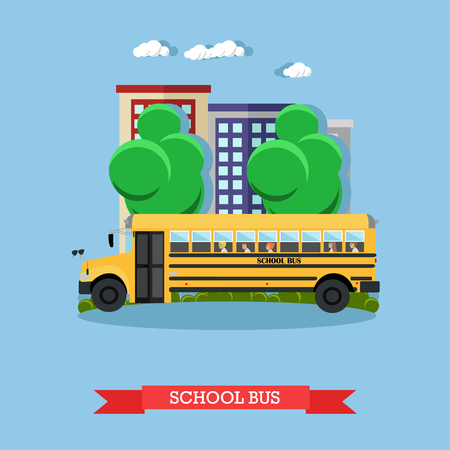 flashers: Vector illustration of school bus in flat style Illustration