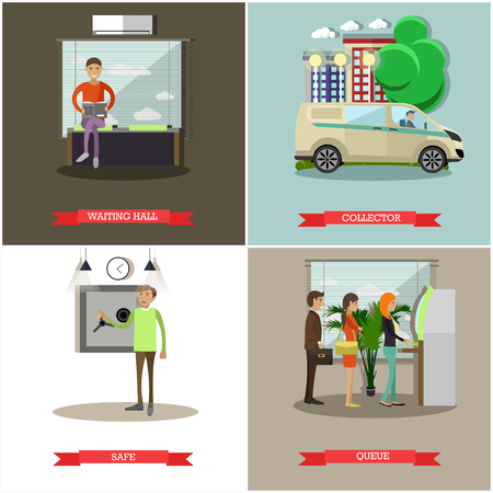 Vector set of banking concept design elements in flat style
