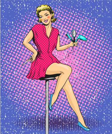 Vector illustration of hairdresser female, retro pop art comic style