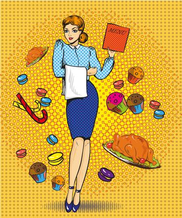 Vector illustration of waitress female, retro pop art comic style Illustration