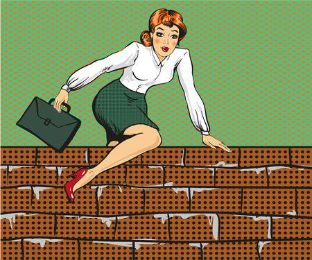 Vectorillustratie van vrouw die over omheining, pop-artstijl beklimmen. Stock Illustratie