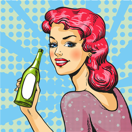 Vector illustration of woman with wine in pop art style
