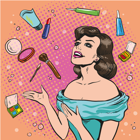 Vector illustration of a woman and scattered makeup, pop art style