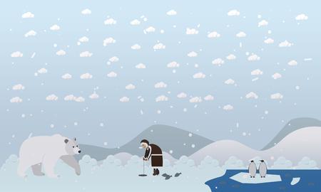 Vector illustration of eskimo and polar bear in flat style Illustration