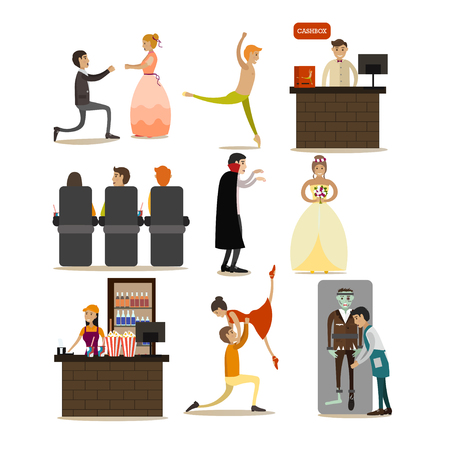 Vector set of opera concept icons, flat style design elements