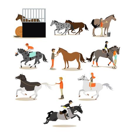 Wektor zestaw ikon jazdy konnej osób w płaskim stylu Ilustracje wektorowe
