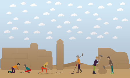 Archaeological excavation concept vector illustration in flat style