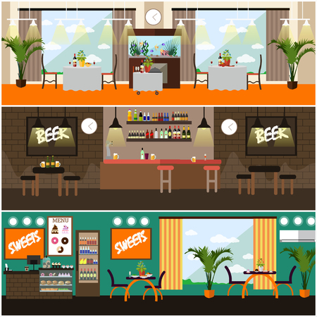 alehouse: Vector set of pub, restaurant interior concept posters, flat style Illustration