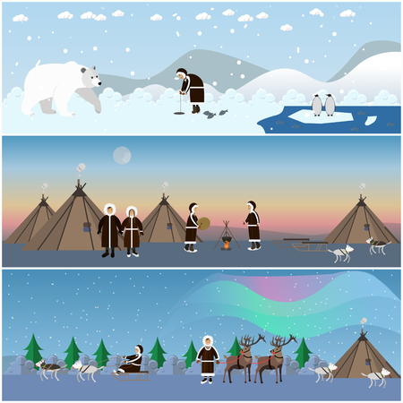 Vector set of wild north arctic posters in flat style.
