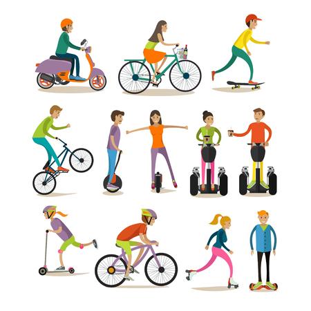 Vector set of modern street, sport transport concept design elements