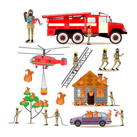 Vector flat icons set of firefighter profession people Illustration