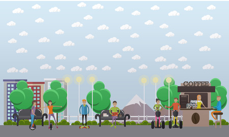 Modern park concept vector illustration in flat style