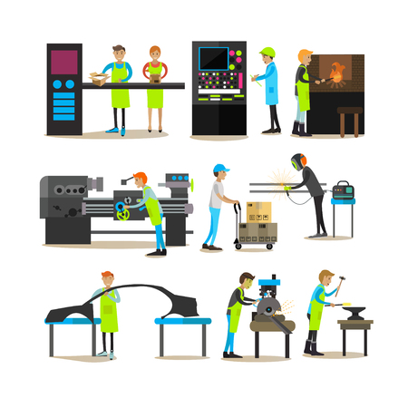 Vector flat icons set of factory production workers