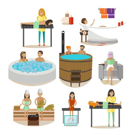 procedure: Vector set of Spa salon people, rehabilitation treatment design elements
