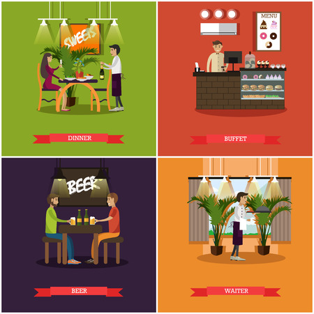 alehouse: Vector set of pub concept posters in flat style
