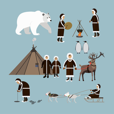 the inuit: Vector set of arctic people and animals flat style icons