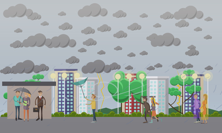 torrential rain: Stormy, windy and rainy weather concept vector illustration, flat style