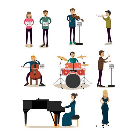 icônes plats vecteur ensemble de personnes d'orchestre symphonique