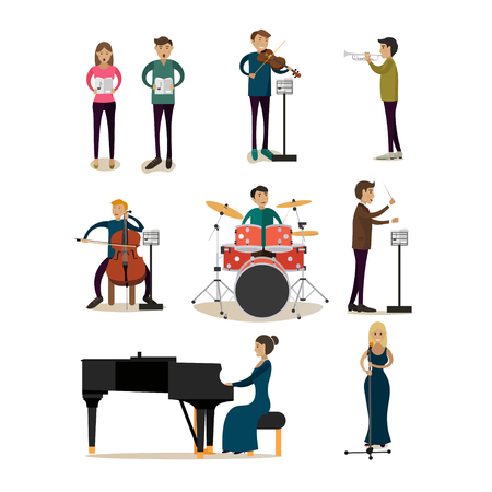 Vector flat icons set of symphony orchestra people Illustration