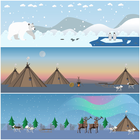 eskimo dog: Vector set of wild north landscape posters in flat style.