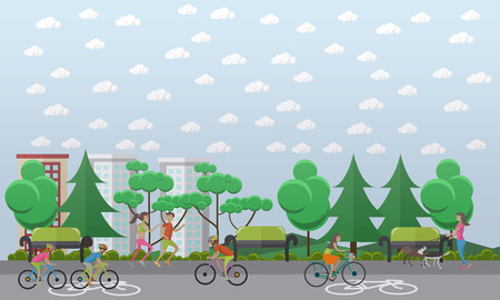 Bike path in the park concept vector illustration, flat style