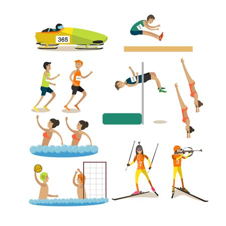 Vector set of sport competitions icons in flat style Illustration