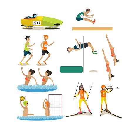 Vector set sportcompetities pictogrammen in platte stijl Stock Illustratie
