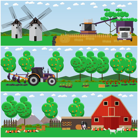 Vector set of farm, wheat field, countryside landscape posters Illustration