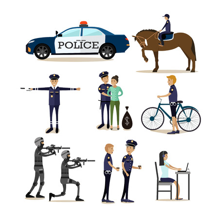 Vector flat icons set of policeman profession characters