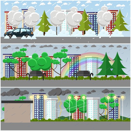 damp: Vector set of weather posters, banners in flat style Illustration