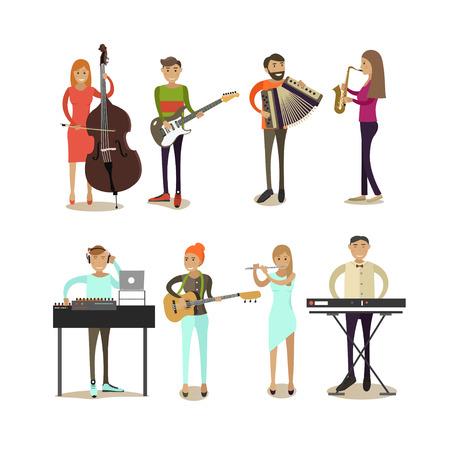 pianista: iconos planos vectoriales conjunto de caracteres músico