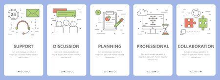 smart goals: Vector set of thin line flat design teamwork concept banners