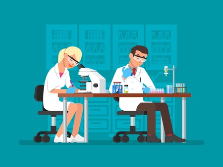 biologist: Vector illustration of scientists working at science lab, flat style