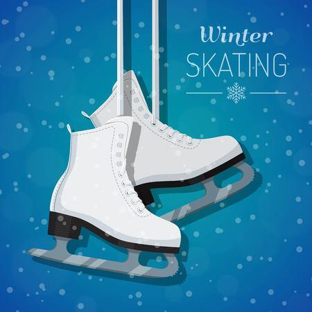 Vector illustration of white ice skates on winter background