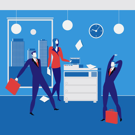 fotocopiadora: Office workers concept vector illustration in flat style Vectores