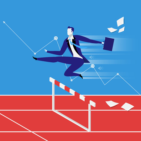 Business steeplechase concept vector illustration in flat style